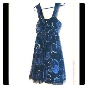 Blue floral on black background cocktail dress